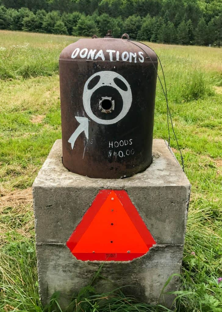 Donations box at Screaming Heads