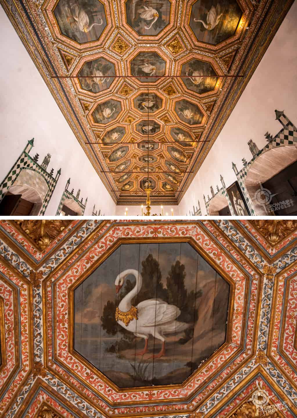 National Palace Swan ceiling and detail