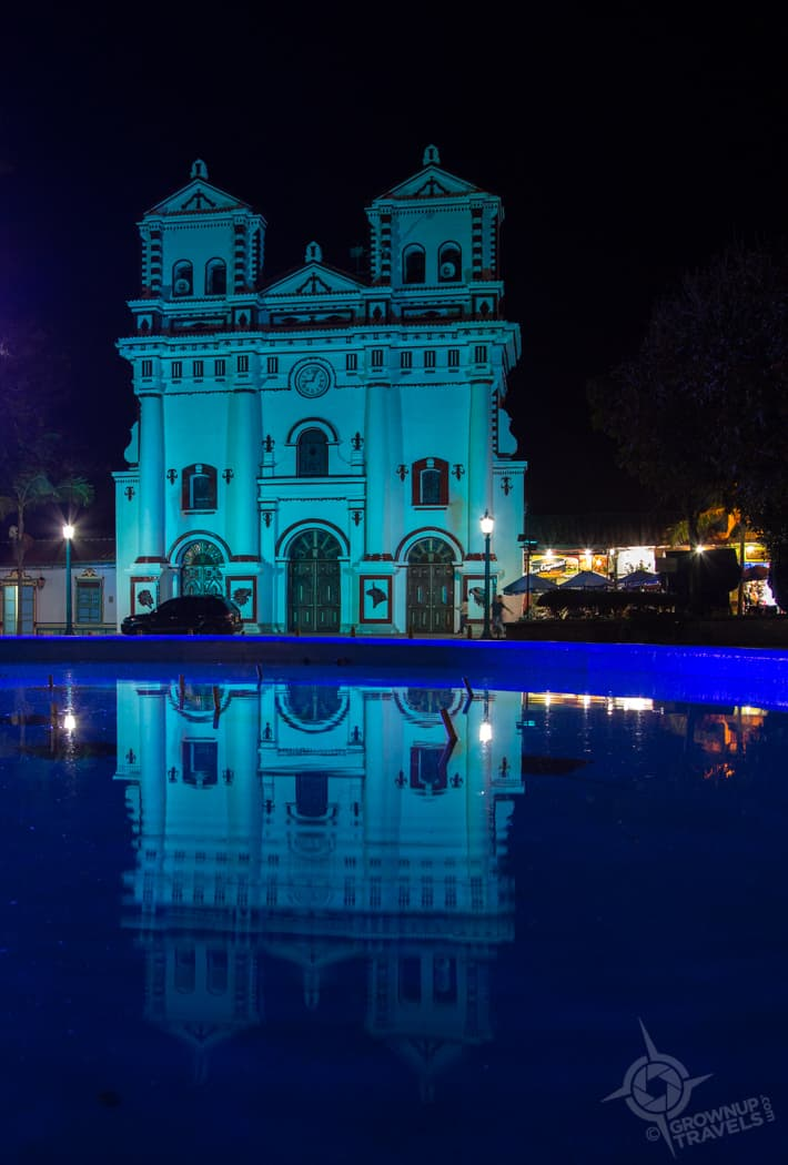 Guatape Church reflection pool