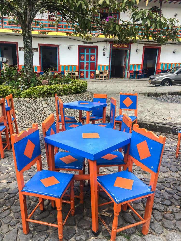Jardin Blue and Orange chairs