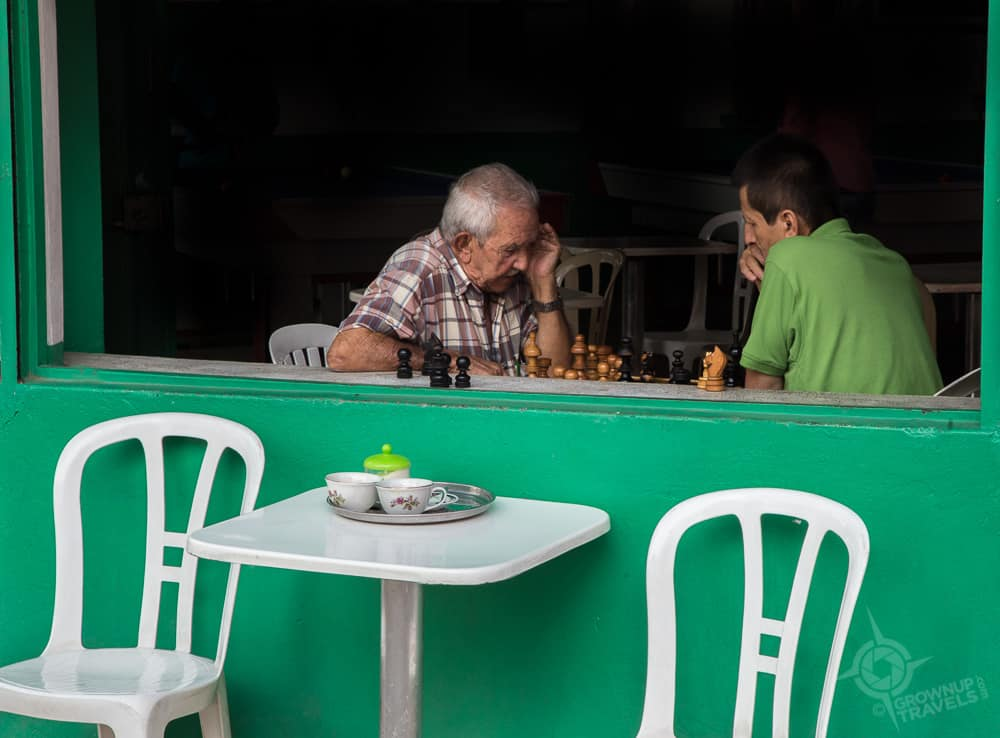 Jardin chess players