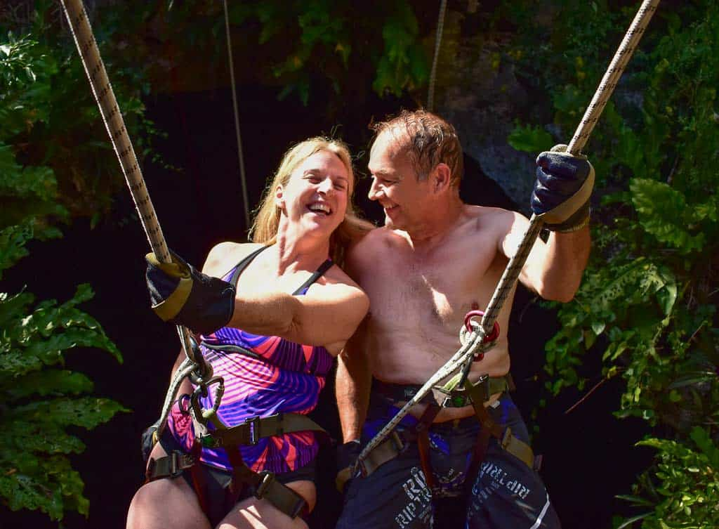 Jane Henk laughing rappelling