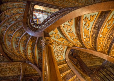 underside of the stairs at Lello Library in Porto