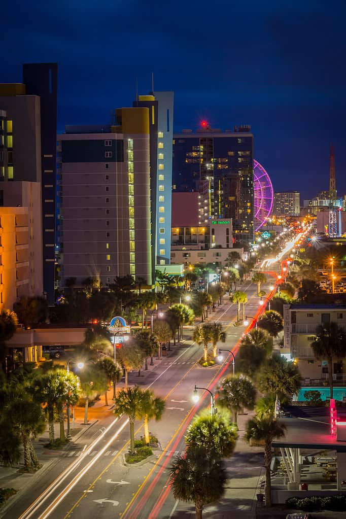 Myrtle Beach Boulevard at night *Public Domain