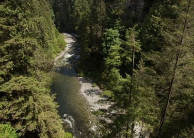 View of Capilano river from suspension bridge