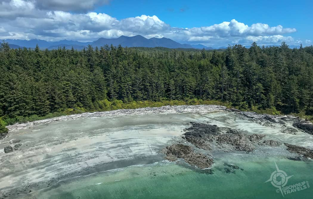 Driftwood beach near Tofino helicopter view