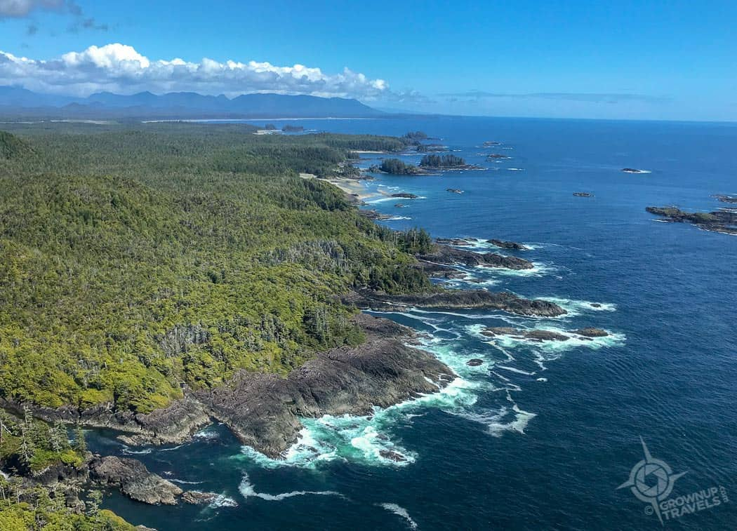 Coastline of BC near Tofino helicopter tour