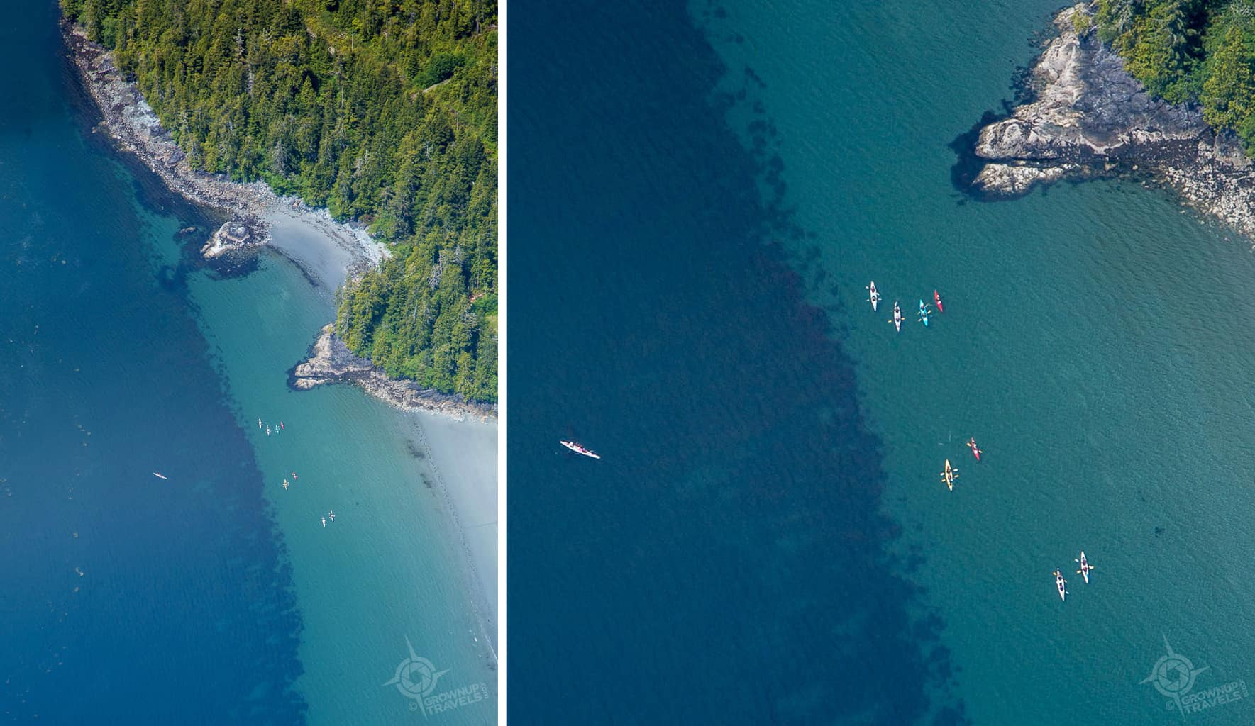 Aerial view of kayakers near Tofino