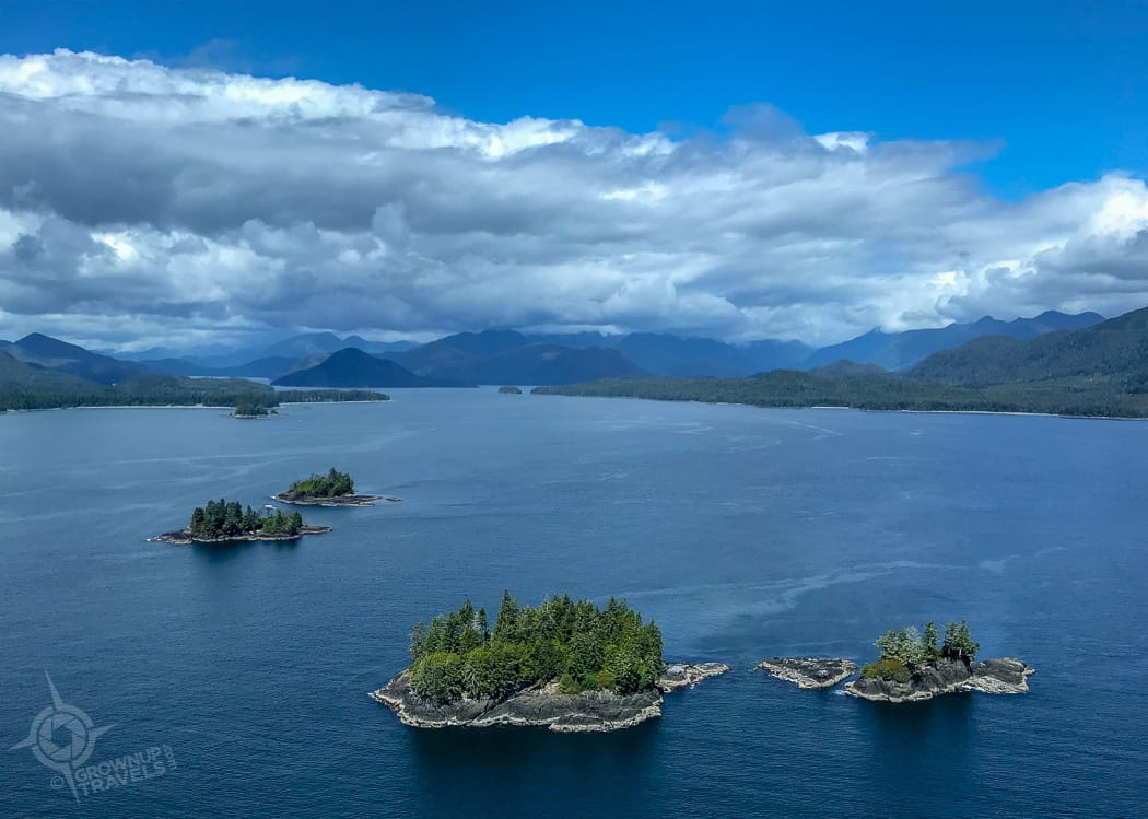 Islands in Clayoquot Sound helicopter view