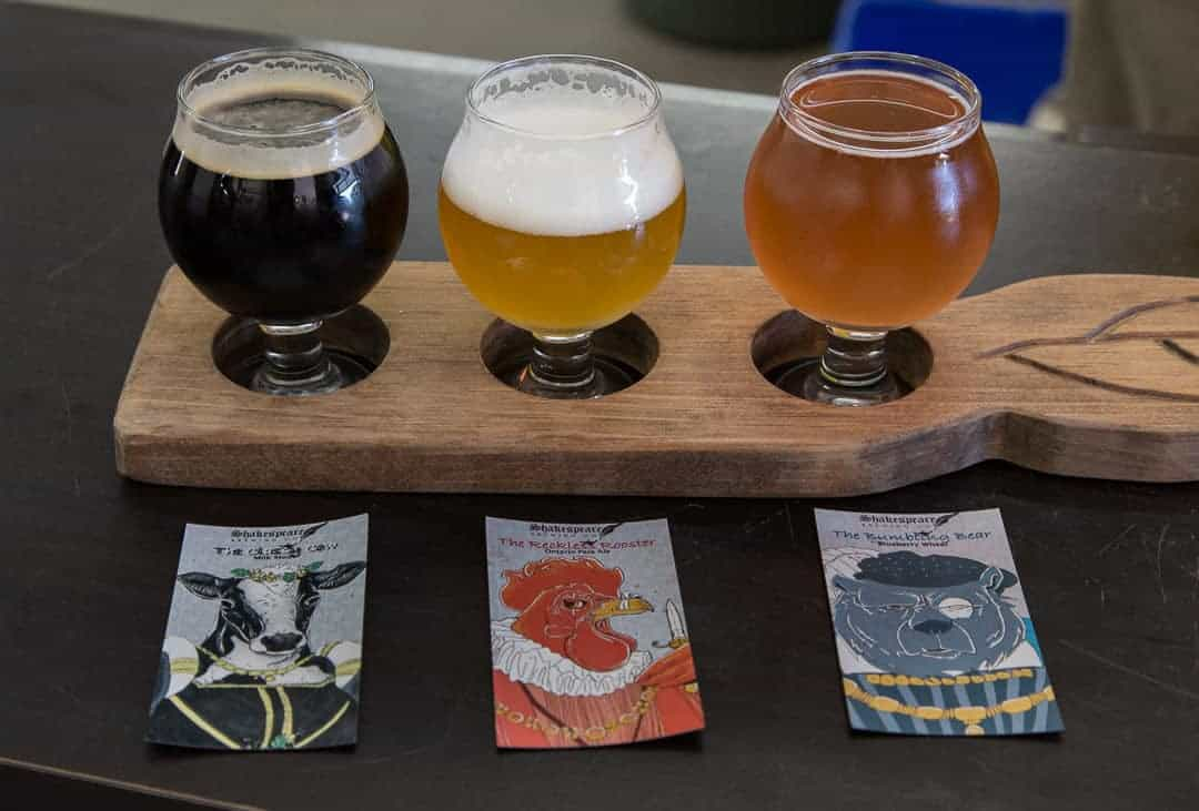flight of craft beer Shakespeare Brewing Company
