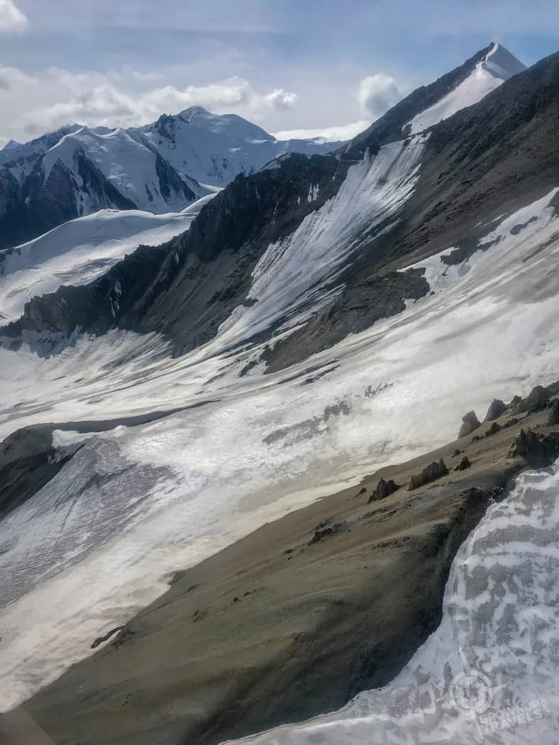 Flying over Yukon glaciers