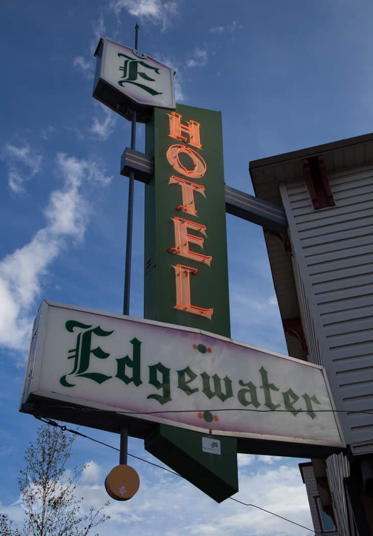 Edgewater Hotel sign Whitehorse