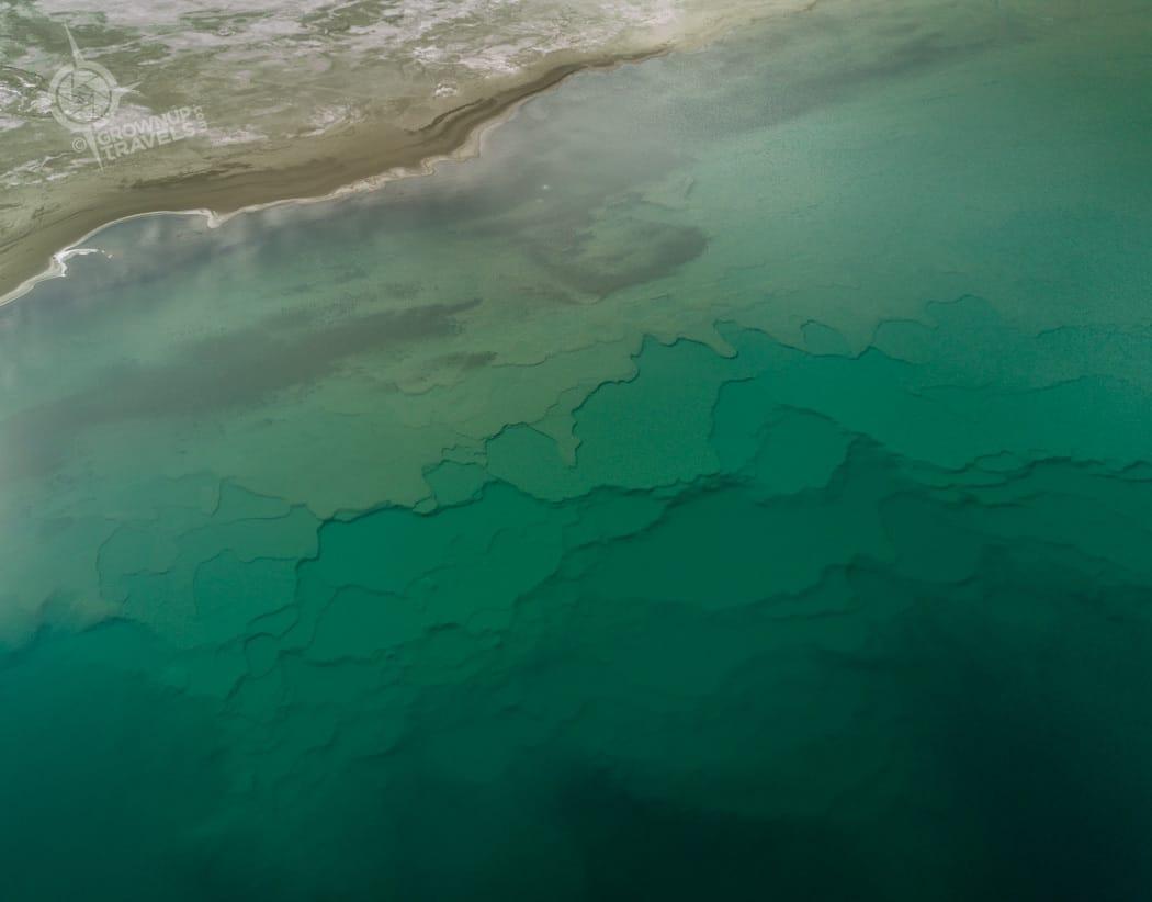 Kluane Lake waters aerial view