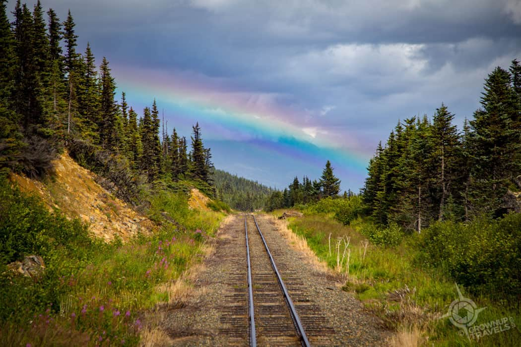 Rainbow on Yukon train tracks