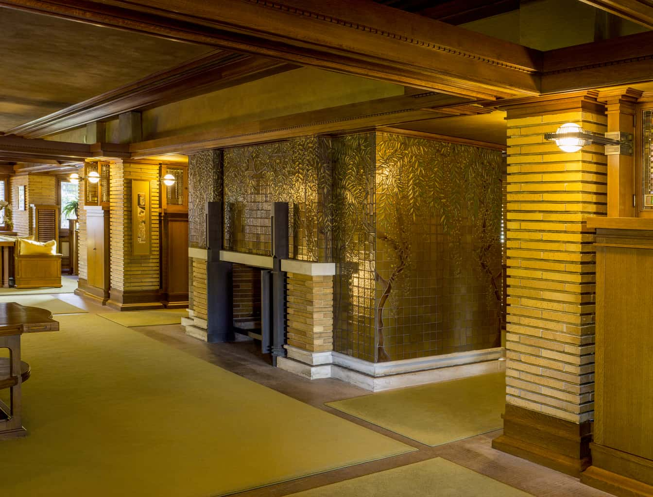 Frank Lloyd Wright's Martin House fireplace