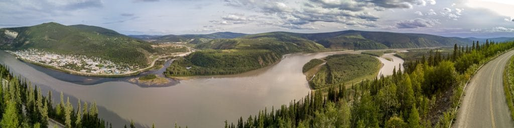 Dawson City river confluence panorama