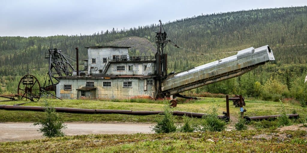 Gold mining dredge Chicken Alaska