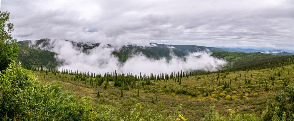 Mist rising top of the world highway yukon
