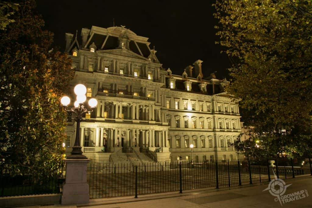 Eisenhower Executive Building at night Washington DC