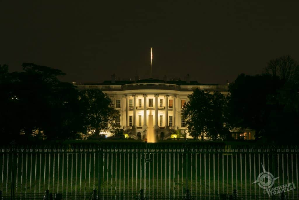 South Lawn White House at night Washington DC