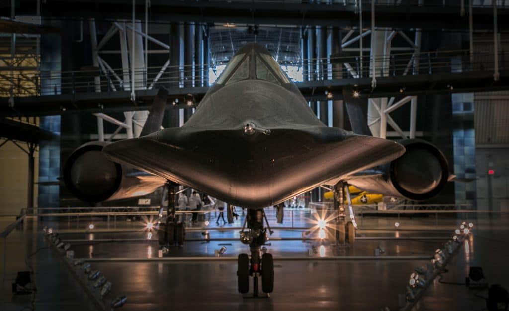 Front view of Lockheed Blackbird aircraft