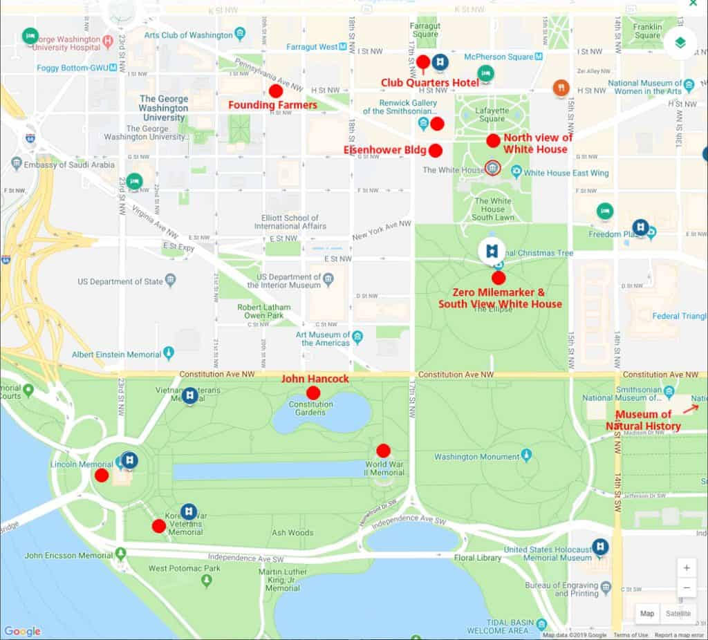 Map of Washington DC sights