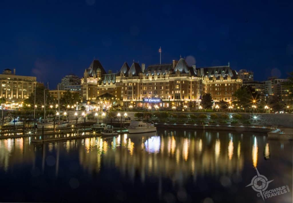 Victoria's Inner Harbour at night Empress Hotel