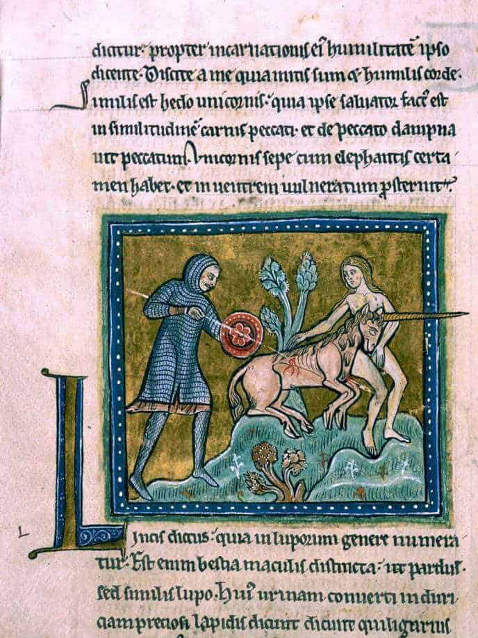 Unicorn on an illuminated manuscript public domain