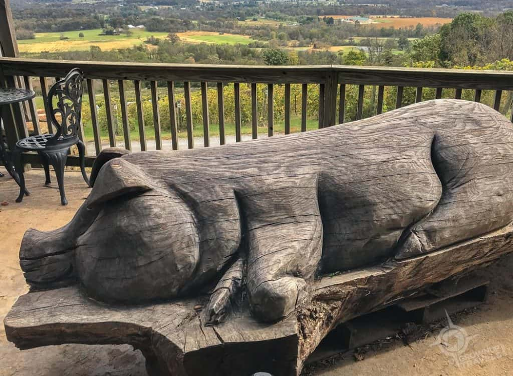 Bluemont Vineyard carved pig