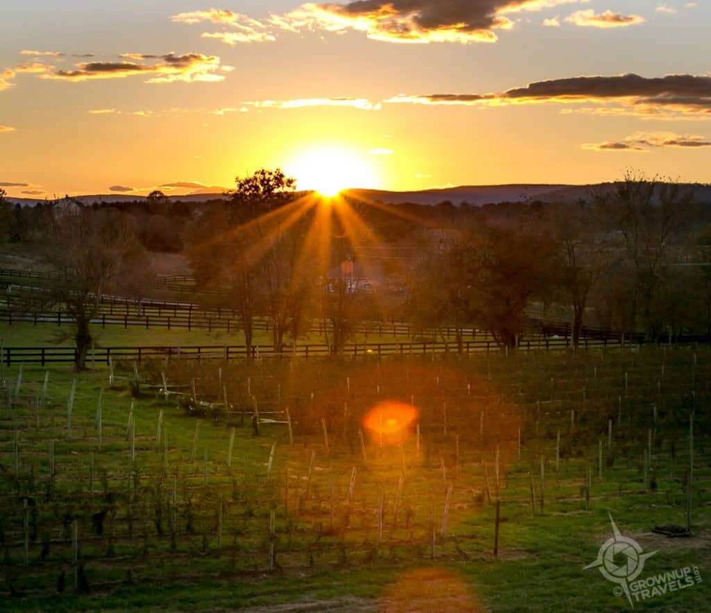 Loudon County sunset at Sunset Hills Winery