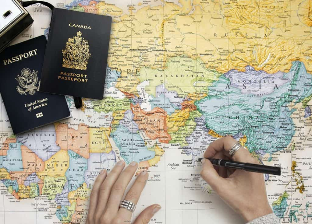 Map with 2 passports