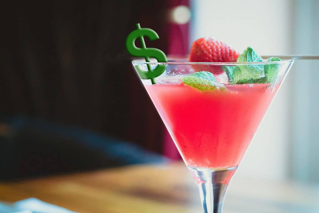 cosmopolitan with dollar garnish