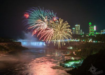 Fireworks at Niagara Falls from Rainbow Bridge