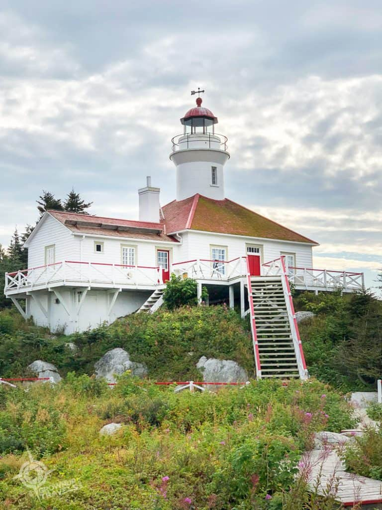 Restored lighthouse Brandy Pot Island_ Île de Pot de l'Eau de Vie