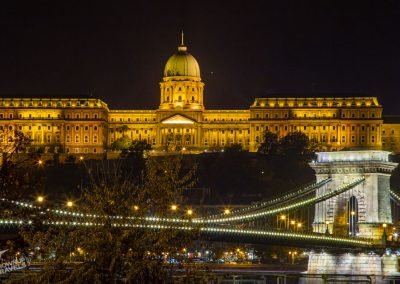 Budapest Buda Castle with Chain Bridge night