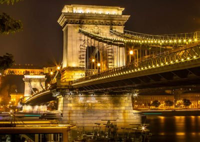 Budapest Chain Bridge night couple bench