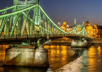 Budapest Liberty Green Bridge reflections night
