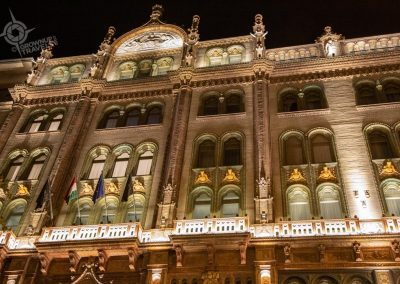 Budapest Parisi Udvar Hotel exterior at night