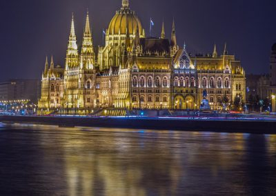 Budapest Parliament Buildings reflection at night