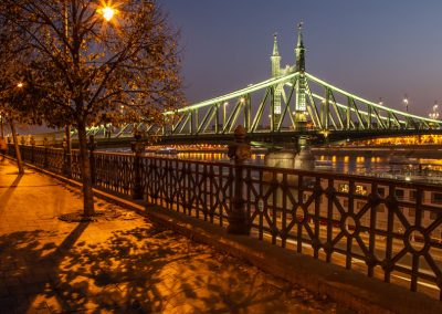 Budapest Waterfront night shadows Green Bridge