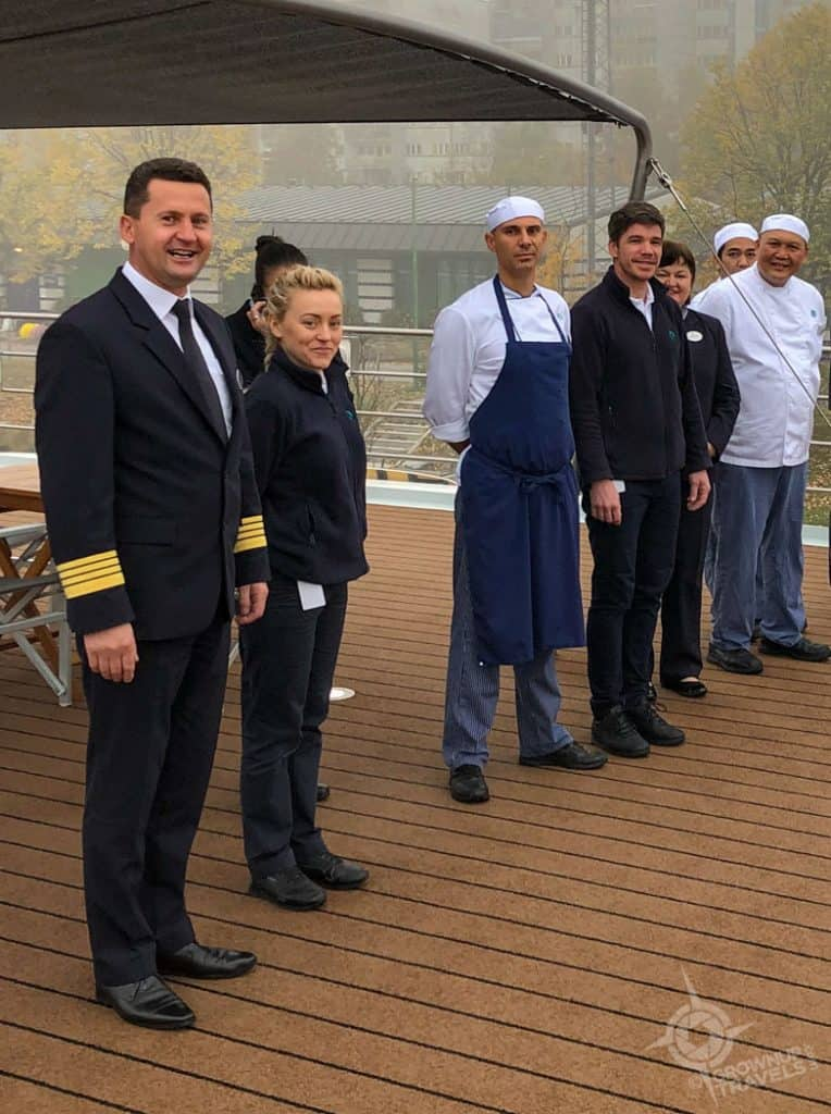 Crystal Mahler River Cruise Captain and staff