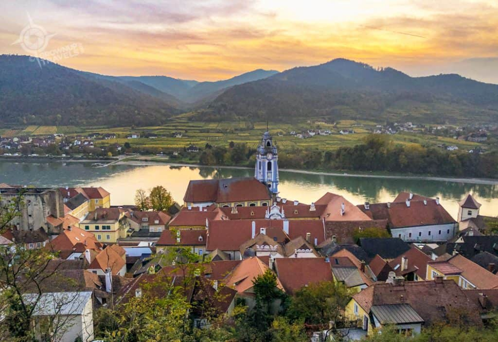 Durnstein Austria at sunset horiz