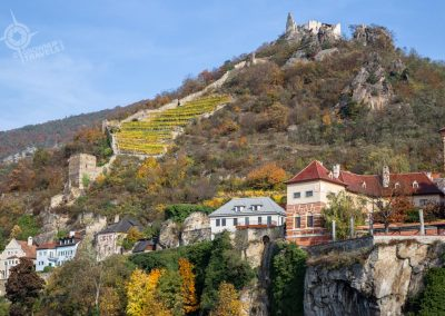 Durnstein Austria from river with Castle