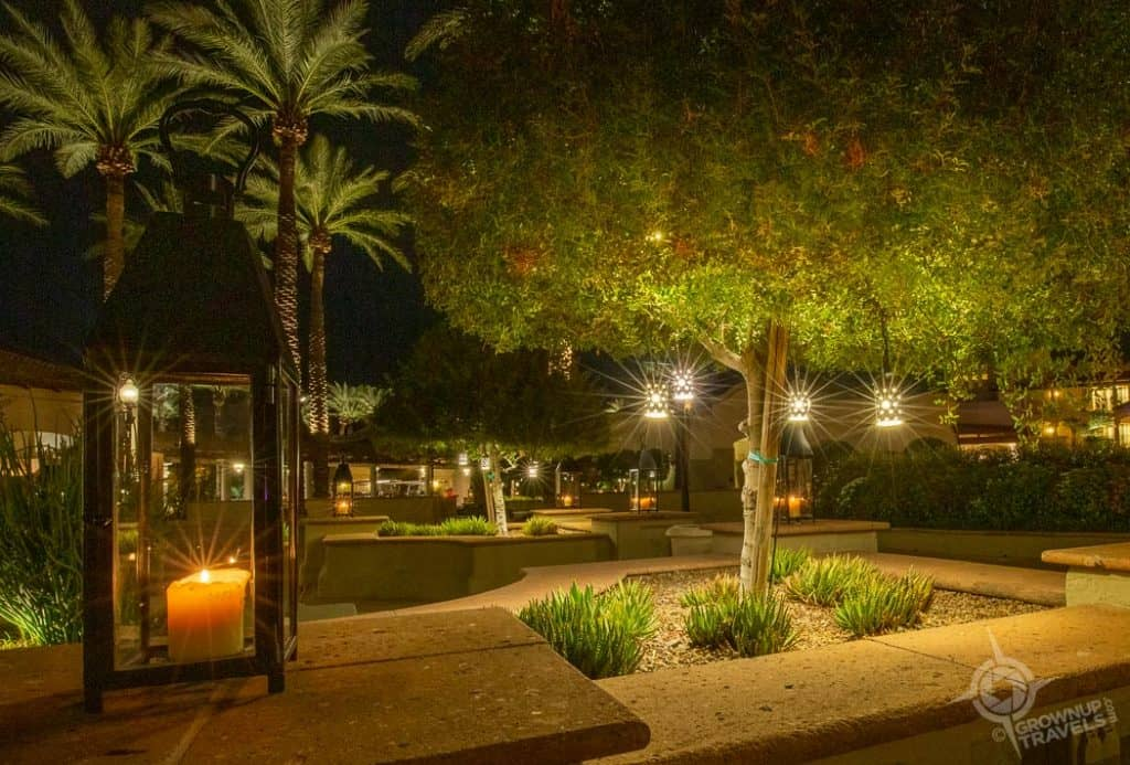 Fairmont Scottsdale Princess courtyard at night