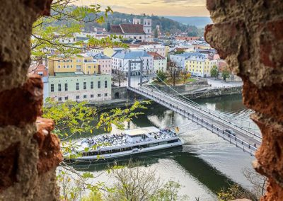 Passau Germany Cruise Ship on Danube from castle
