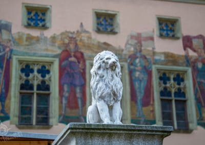 Passau Germany Rathaus Lion and Facade
