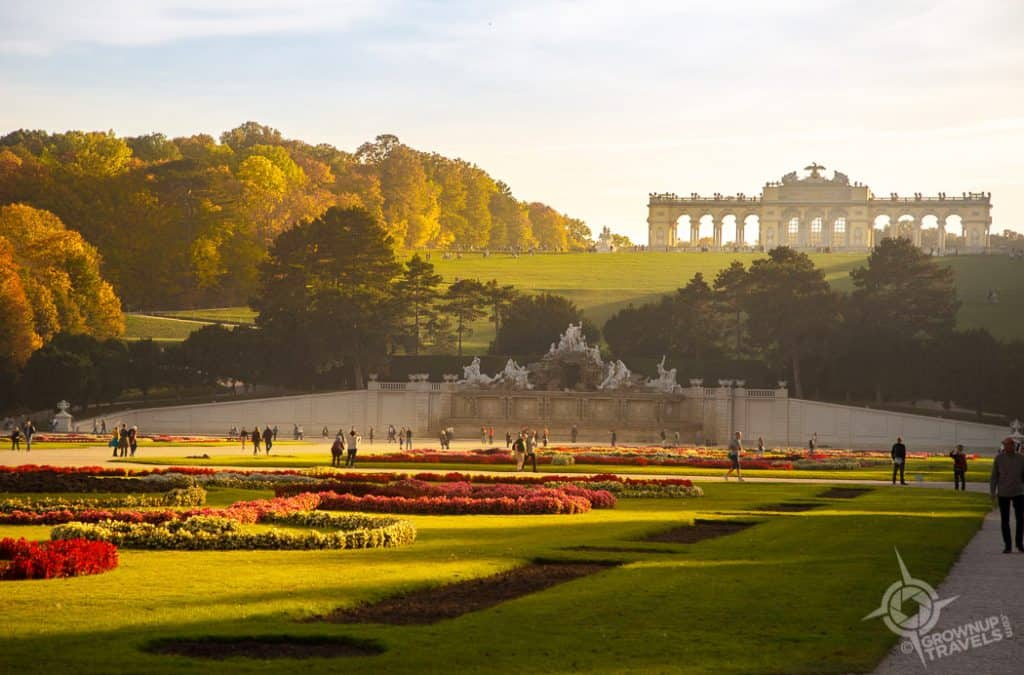 Vienna Schönbrunn Palace Grand Parterre sunset