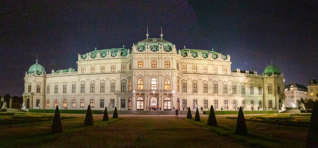 Vienna Upper Belvedere Palace at night