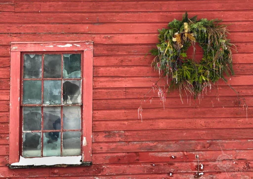 Portsmouth NH Strawbery Banke building with frozen wreath