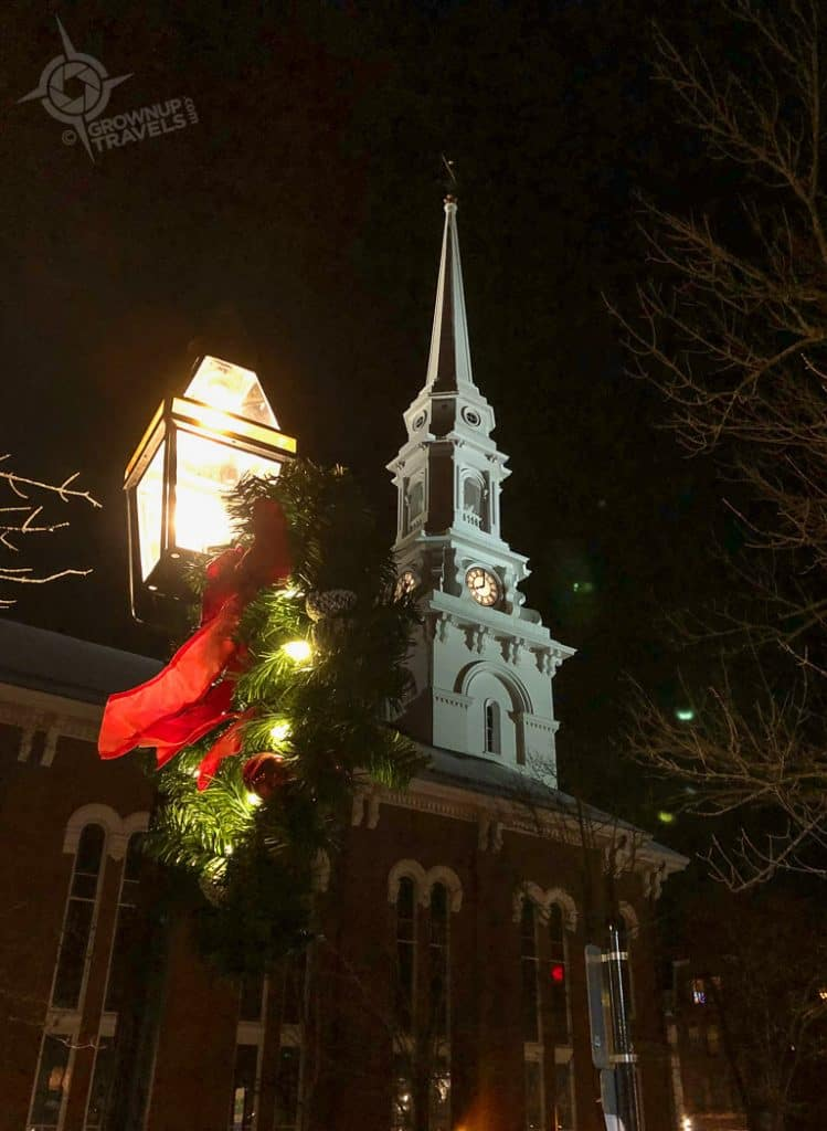 Steeple Wreath at night Portsmouth NH